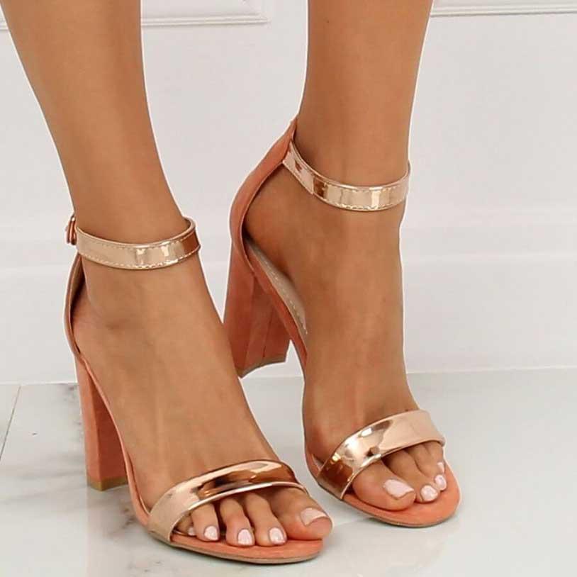 Sandale elegante cu toc gros și înalt, 8.5 cm - 131992