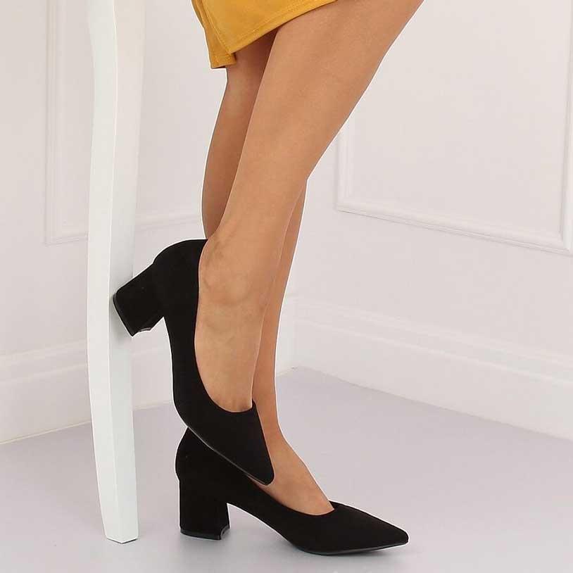 san francisco calitate calitate excelentă Pantofi negri cu toc mic și gros 6 cm - 134283 – Stiletto.ro
